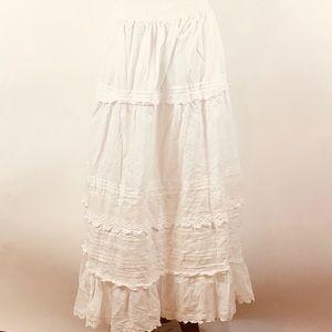 White eyelet cotton boho prairie maxi skirt
